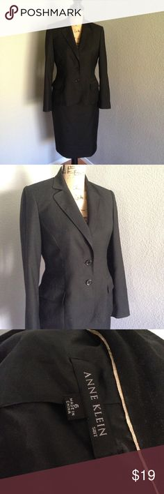 Anne Klein 2 Piece Suit Anne Klein 2 piece black suit. Jacket and skirt sold together. The suit was purchased as a set but there is slight variation (not noticeable) between fabric of jacket and fabric of matching straight skirt. Anne Klein Jackets & Coats Blazers