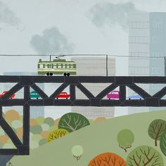 High Level- Edmonton Landmark art print, home decor  Edmonton landmark art print with a unique Mid-Century / Folk Art take. A perfect Edmonton gift idea for any city lover or that poor soul that is leaving town. Purchase on www.snowalligator.com  Illustration by local artist Jason Blower  #yeg #yegart #yegwallart #wallart #EdmontonArt #edmontongift #yeggift #snow_aligator #charmingart #cuteart #midCentury #Folkart #cuteart #charmingart #edmontonartist