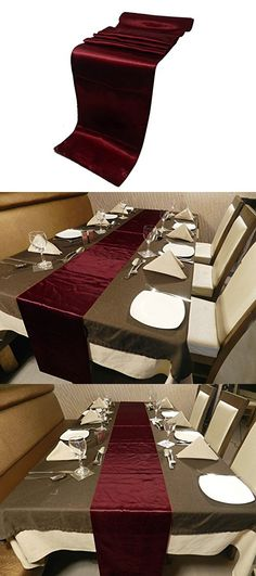 ELINA'S PACK OF10 Wedding 12 x 108 inch Satin Table Runner Wedding Banquet Decoration- Gold (BURGUNDY)