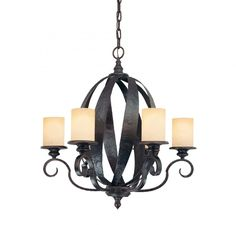 This Four Light Candle Chandelier is part of the Carmel Collection and has a Slate Finish and Cream Ribbed Glass. www.garbes.com