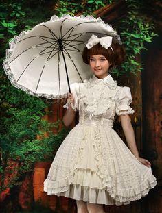 甘いエクリュ白弓シフォン ロリータ ジャンパー スカート - Lolitashow.com