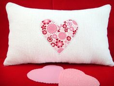 Valentine Pillow Hearts Flowers Red Pink White Repurposed Embroidered Decorative. $12.00, via Etsy.