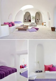 Santorini Greece. Organic rustic space, highlighted with shades of purple, burgundy, lavender and pink!