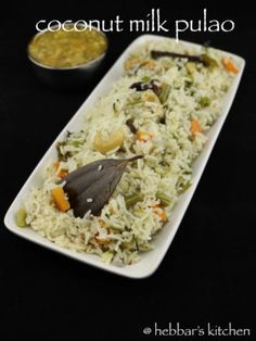 coconut milk pulao recipe, coconut rice pulao, coconut milk pulav with step by step photo/video. flavoured pulao recipe with long grain rice, coconut milk. Coconut Milk Rice, Coconut Milk Recipes, Veg Recipes, Indian Food Recipes, Vegetarian Recipes, Cooking Recipes, Recipies, Appetiser Recipes, Indian Foods