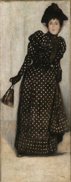 József Rippl-Rónai, Woman in a White-dotted Dress, 1889, oil on canvas, 187 x 75 cm. Budapest, Museum of Fine Arts.