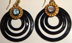VICTORIAN 1800 S FRECH JET & SAPHIRET CZECH ART GLASS 3 RING EARRINGS, MOURNING