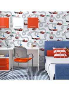 Disney Cars Racetrack Wallpaper - Print - Boys Room Wallpaper, Paper Wallpaper, Disney Wallpaper, Innovation Centre, Disney Cars, Home Insurance, Dream Bedroom, Playroom, Kids Fashion