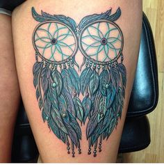 My newest addition! Dream catcher owl tattoo. (My actual photo)