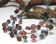 Beaded Crocheted Wire Necklace  Shades of Purple  by by LauriShaw, $20.00