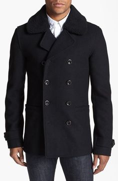 Topman Skinny Fit Double Breasted Peacoat available at #Nordstrom