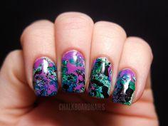 graffiti nails, dip nail polish in a straw and blow onto nails! so awesome.