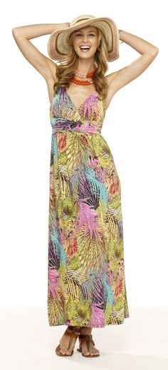 Floral printed maxi dress with floppy hat