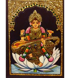 Tanjore Painting of Saraswati on Lotus