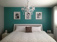 Grey and teal bedroom