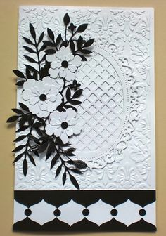 Black & White Card by Charminglycreative - Cards and Paper Crafts at Splitcoaststampers Perfect for sympathy, wedding, anniversary.any special occasion - use a green instead of black, etc. Wedding Cards Handmade, Greeting Cards Handmade, Spellbinders Cards, Stampin Up Cards, Embossed Cards, Wedding Anniversary Cards, Shaker Cards, Sympathy Cards, Flower Cards