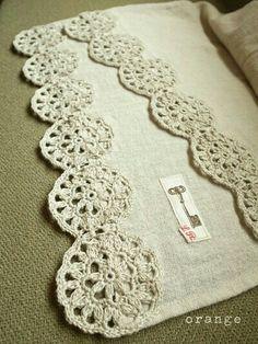cotton stole with a crochet motif inspiration only, no pattern Crochet Motifs, Crochet Borders, Crochet Trim, Crochet Doilies, Crochet Flowers, Easy Crochet, Crochet Lace, Crochet Stitches, Crochet Patterns