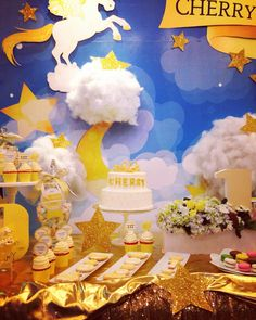 Today's party #birthday #party #decoration #GEEKsg #sparkle #nightsky #unicorn #beautiful #golden #babygirl #star #yellow #birthdayparty #babyshower #cute #shinebright #cloudy #loveit