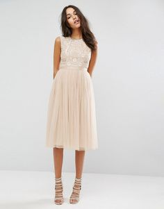 Needle & Thread Prarie White Embroidered Tulle Midi Dress at Asos
