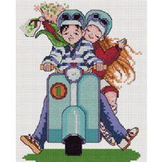 PINN Cross Stitch : We love Vespa Cross Stitch Kits on You & Me category