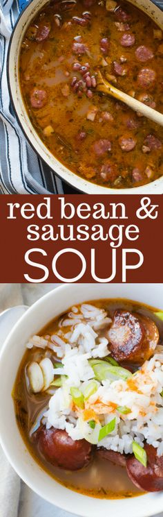 If you like cajun red beans and rice then you'll love this easy Red Bean and Sausage Soup. This Cajun soup has spicy andouille and a special blend of Cajun spices, making this sausage and bean soup extra special. Great comfort food for cold nights! Cajun Recipes, Chili Recipes, Cooking Recipes, Healthy Recipes, Bean Soup Recipes, Cajun Food, Healthy Soups, Sausage Recipes, Bean And Sausage Soup