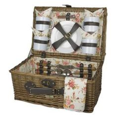 The Picnic Parlor - Willow Picnic Basket with Floral Interior for 4, $104.99 (http://picnicparlor.com/willow-picnic-basket-with-floral-interior-for-four/)