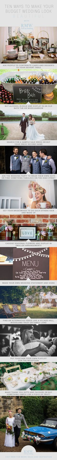 10 ways to make your budget wedding look beautiful | http://www.rockmywedding.co.uk/how-to-have-a-beautiful-budget-wedding/