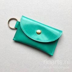 Key waller / cardholder in sea green leather