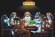 Velvet Painting of 7 Dogs Playing a Poker Game 36″ X 24″ Size – Passing an Ace Under the Table