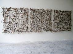 Sticks woven into panels