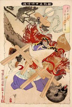 月岡芳年:新形三十六怪撰 武田勝千代月夜に老狸を撃乃図
