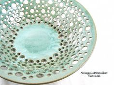 Pottery fruit bowl lace design large green by Ningswonderworld, $110.00