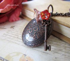 Antique Copper Key Locket Necklace Vintage by gsakowskistudio, $21.00