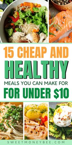 Looking for cheap healthy meals for one or for a big family? Here are 15 tasty and delicious cheap meals that you must t Cheap Easy Healthy Meals, Healthy Meals For One, Healthy Meal Prep, Easy Healthy Recipes, Delicious Recipes, Simple Meals For Dinner, Inexpensive Meals, Healthy Meals For Families, Cheap Simple Meals