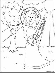 Immaculate Conception Coloring Sheet from Catholic Icing. Catholic Crafts, Catholic Kids, Catholic Saints, Catholic Traditions, Feast Of Immaculate Conception, Catholic Icing, Advent, Teaching Religion, Christian Crafts