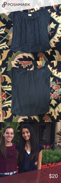 ♡blue lacy top♡ ❥lacy, navy blue top. please note that this top is shorter in length as shown in these pictures. cute and comfy! Abercrombie & Fitch Tops Blouses