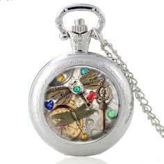Steampunk Dragonfly Design Pendant Jewelry Retro Quartz Pocket Watch With Chain Mens Women Watches Vintage Silver Necklace Clock