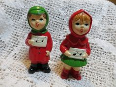 Ceramic Carolers From Japan Boy and Girl Holiday. The boys green cap has a chip on the edge of the bill, otherwise they are in wonderful vintage condition. The tag says handmade in Japan MY. Ronald Mcdonald, Boy Or Girl, Japan, Ceramics, Dolls, Christmas Ornaments, Guys, Holiday Decor, Handmade