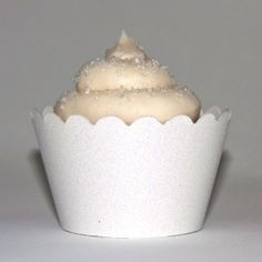 Platinum Glitter White Reusable Cupcake Wrappers