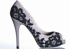 Valentino lace-embroidered leather peep toe.