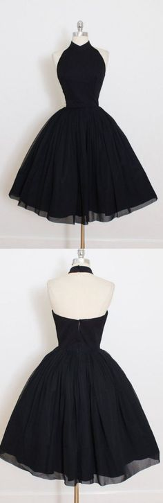 Nice Short Ball Gown Prom Dresses, Black Sleeveless With Pleated Mini Homecoming