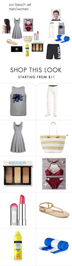 """""""sun beach set men/women"""" by baylissreb on Polyvore featuring Robert Graham, Phase Eight, Bobbi Brown Cosmetics, Clinique, Roxy, Chanel and Calvin Klein"""