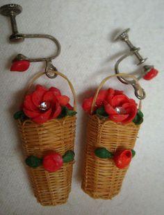 WICKER BASKET W/JEWELED FLOWERS Screw-Back Drop Earrings