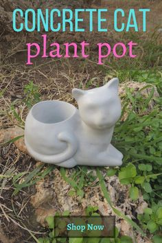 This unique design can be used as a small #succulentPlanter or #TealightHolder . More unique designs at our online store. Please visit :) Concrete Plant Pots, Mix Concrete, Concrete Color, Cement Planters, Concrete Garden, Cat Plants, Potted Plants, Pastel Home Decor, Cat Statue