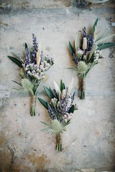 Blue Wedding Flowers - Outdoor Ceremony for a Destination Wedding in Provence France with Bride in a Collette Dinnigan gown and Bridesmaids in Coast Baby Blue Dresses with lilac pastel flowers. Pastel Flowers, Wild Flowers, French Flowers, Navy Flowers, Simple Flowers, Deco Floral, Floral Design, Boutonnieres, Thistle Boutonniere