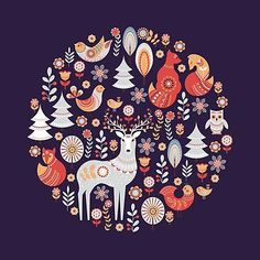 """'Seamless pattern with winter forest, deer, owl and Fox. The Scandinavian style. ' Framed Print by Skaska - """"Seamless pattern with winter forest, deer, owl and Fox. The Scandinavian style. """" Framed Art P - Illustration Noel, Christmas Illustration, Illustrations, Jigsaw, Scandinavian Folk Art, Scandinavian Pattern, Guache, Christmas Art, Xmas"""