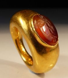 Roman  Gold Ring,with a gem stone intaglio, possibly Mercury, dating to the 2nd Century AD