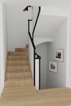 Una escalera y una terraza para Alicia y su familia #escalera #staircase #design #black #white #wood #blanco #negro #madera