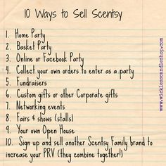 #Scentsy Training Tip video:  10 Ways to Sell Scentsy, Velata, and Grace Adele by Star Director Becky Sattler.  www.wicklesscandleshop.com
