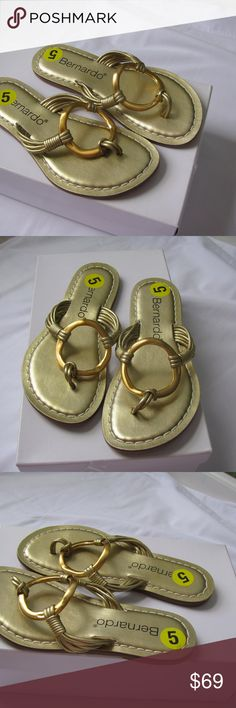 Bernardo Gold Leather Flip Flops Rope Size 5 Bernardo Gold Leather Flip Flops Rope Thong Sandal Metal Ring  Size 5  Color: Gold Bernardo Shoes Mules & Clogs