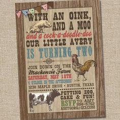 Retro Vintage Farm Petting Zoo Barnyard Printable Birthday Party Invitation from PartyMonkey on Etsy